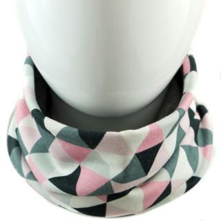 Dwustronny komin 'Trójkąty różowe' grafitowy