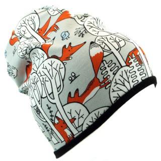 Podwójna czapka 'Liski w lesie' czarny
