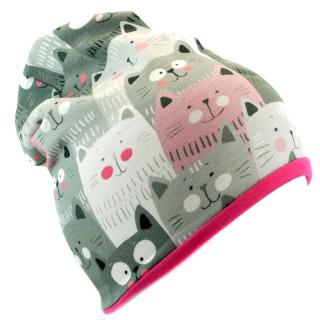 Podwójna czapka 'Szalone koty' fuksja
