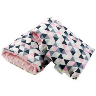 Mufki do wózka 'Różowe trójkąty' różowy