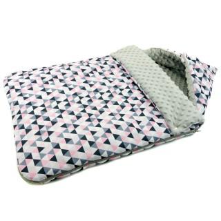 Śpiwór do wózka 'Różowe trójkąty' szary