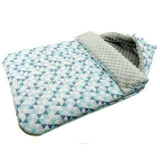 Śpiwór do wózka 'Miętowe trójkąty' szary
