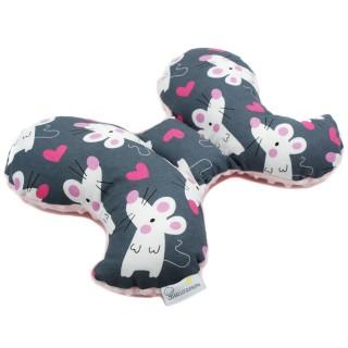 Poduszka antywstrząsowa 'Zakochane myszki' róż