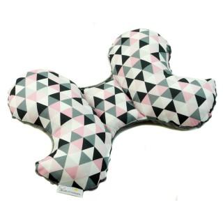 Poduszka antywstrząsowa 'Różowe trójkąty' grafitowy